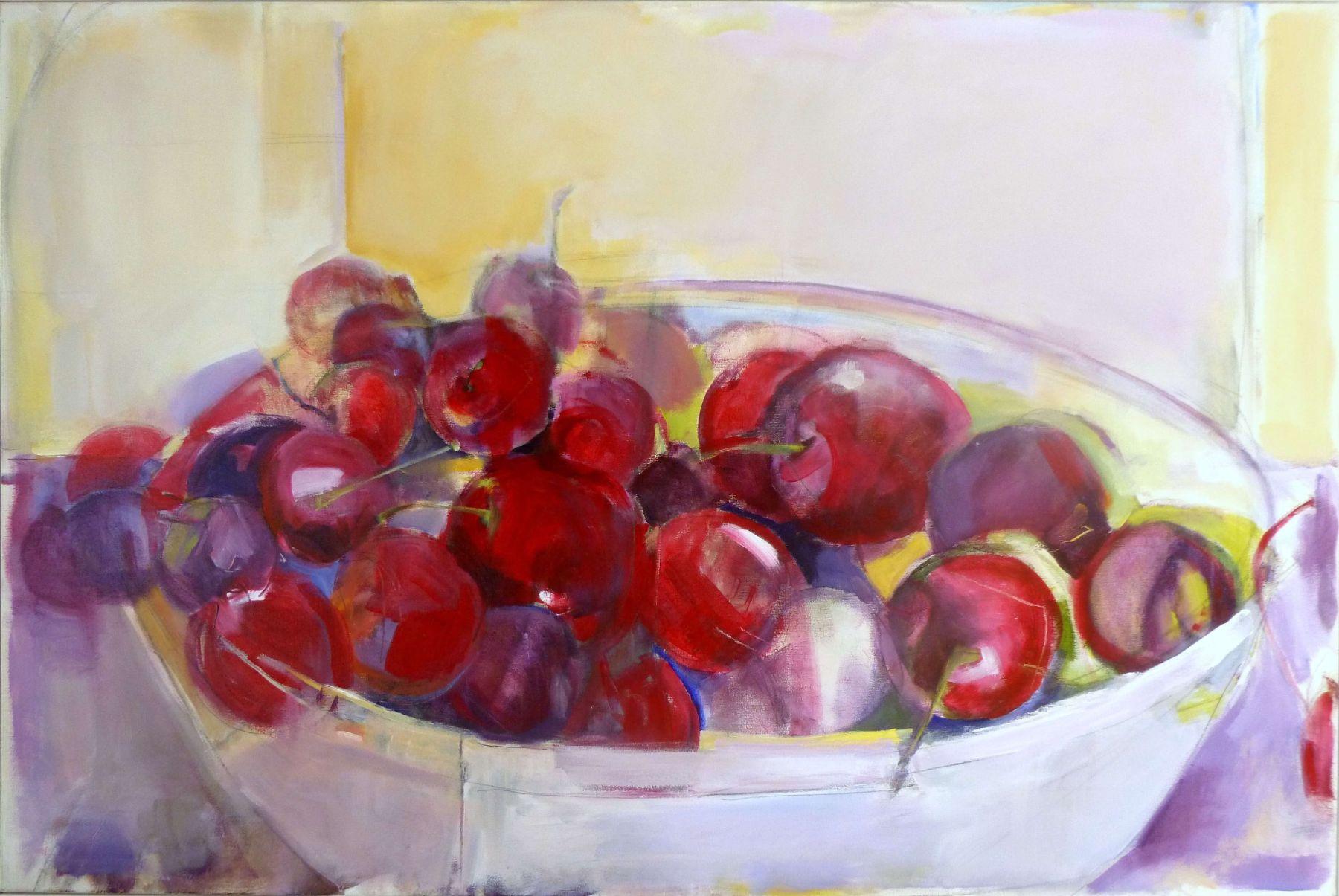 Cherries In A Bowl - painting, acrylic on canvas by artist Neva Bergemann