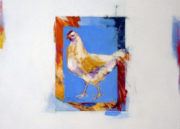 Blue Hen - painting, acrylic on canvas by artist Neva Bergemann