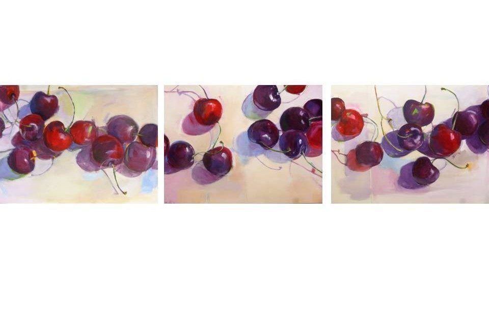 Cherry Triptych painting, acrylic on canvas by artist Neva Bergemann