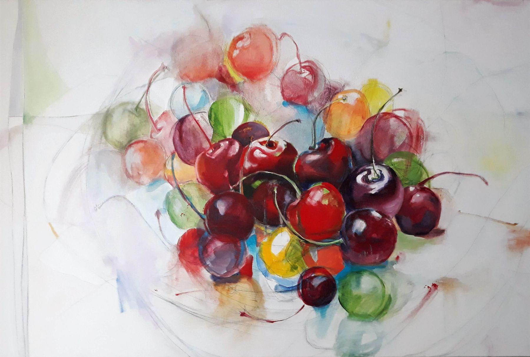 Cherry Bouquet - painting, acrylic on canvas by artist Neva Bergemann