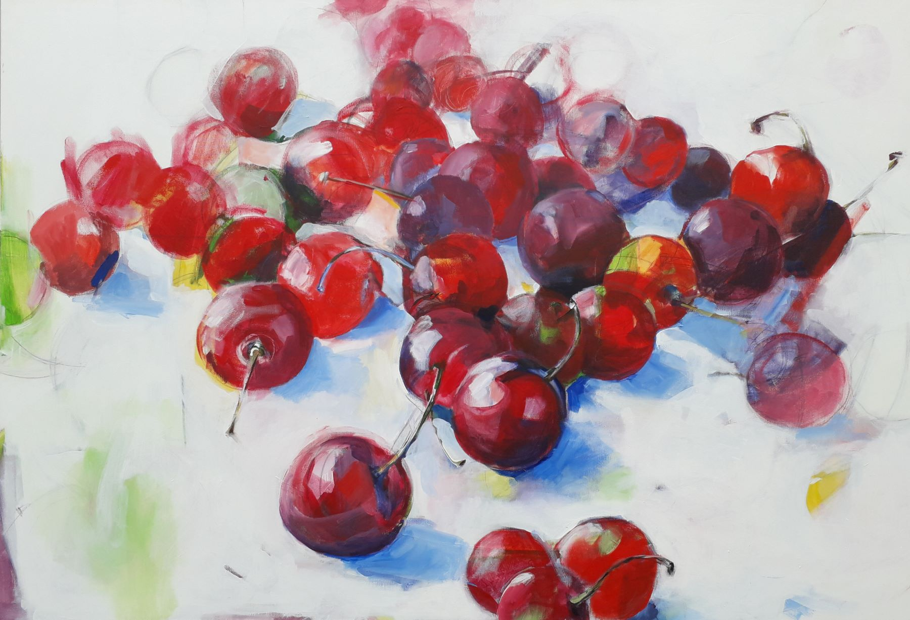 Cherry Lipstick - painting, acrylic on canvas by artist Neva Bergemann