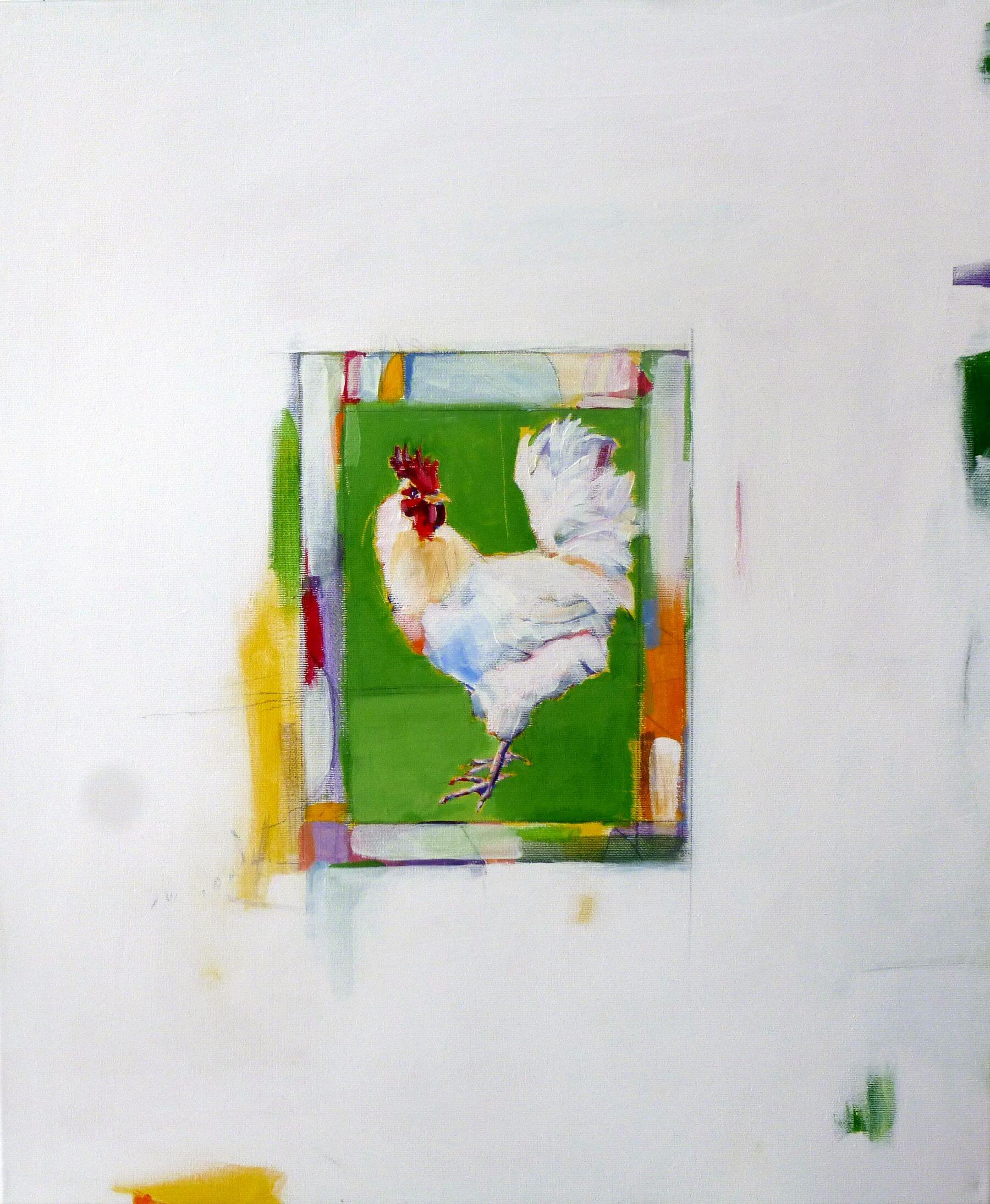 Green Cockerel - painting, acrylic on canvas by artist Neva Bergemann