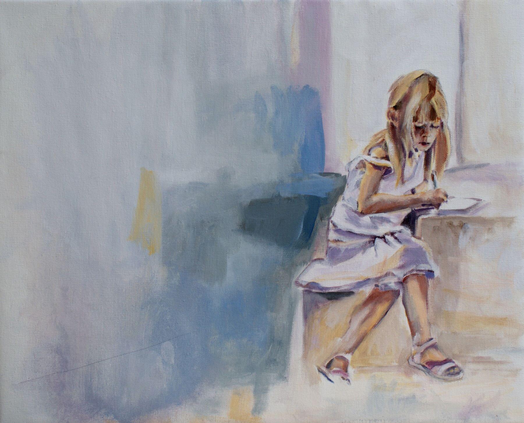 Leda - painting, acrylic on canvas by artist Neva Bergemann