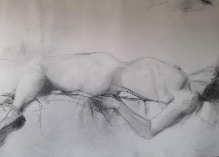 Lines - drawing, graphite on paper, by artist Neva Bergemann