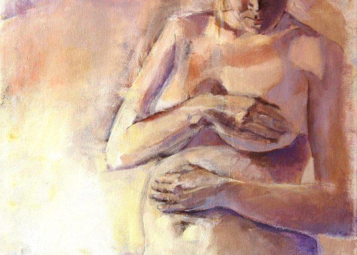 Leda - portrait painting, acrylic on canvas by artist Neva Bergemann