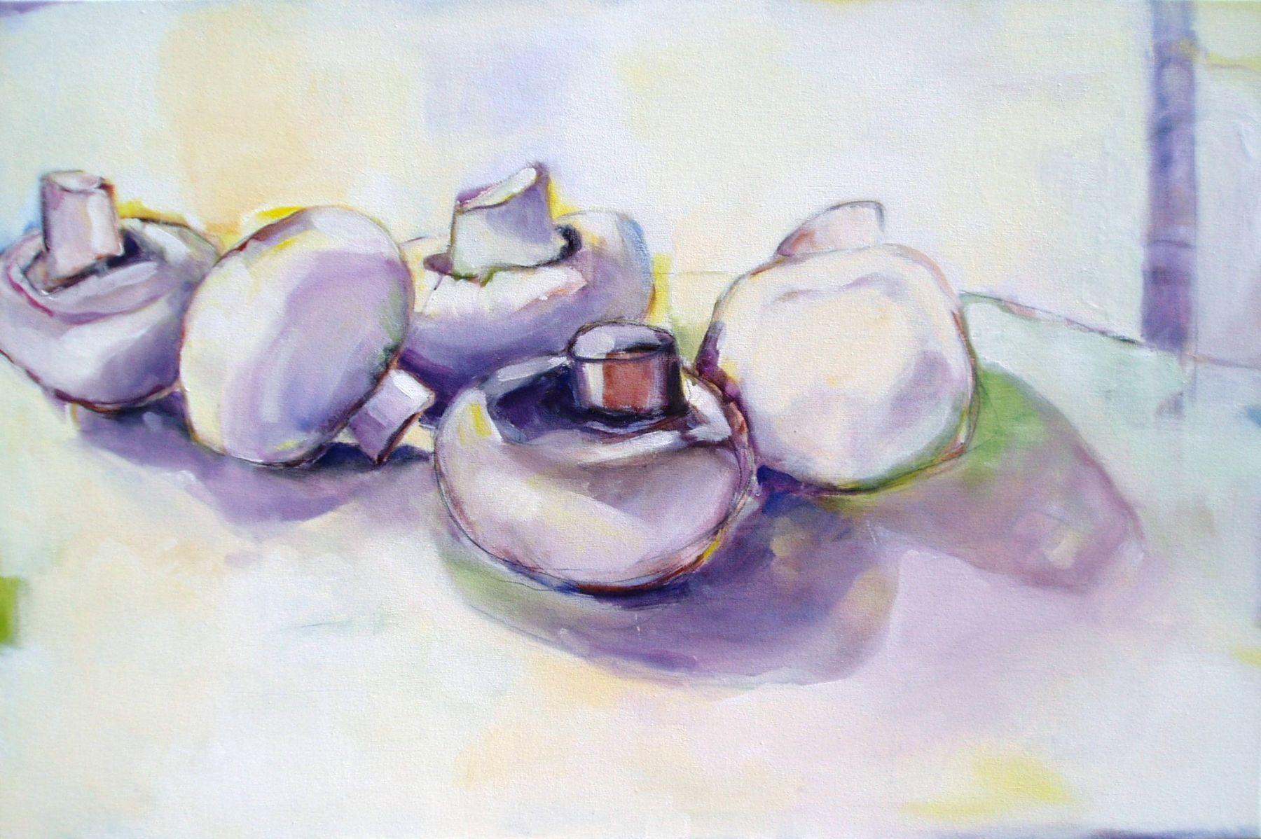 Mushrooms - painting, acrylic on canvas by artist Neva Bergemann