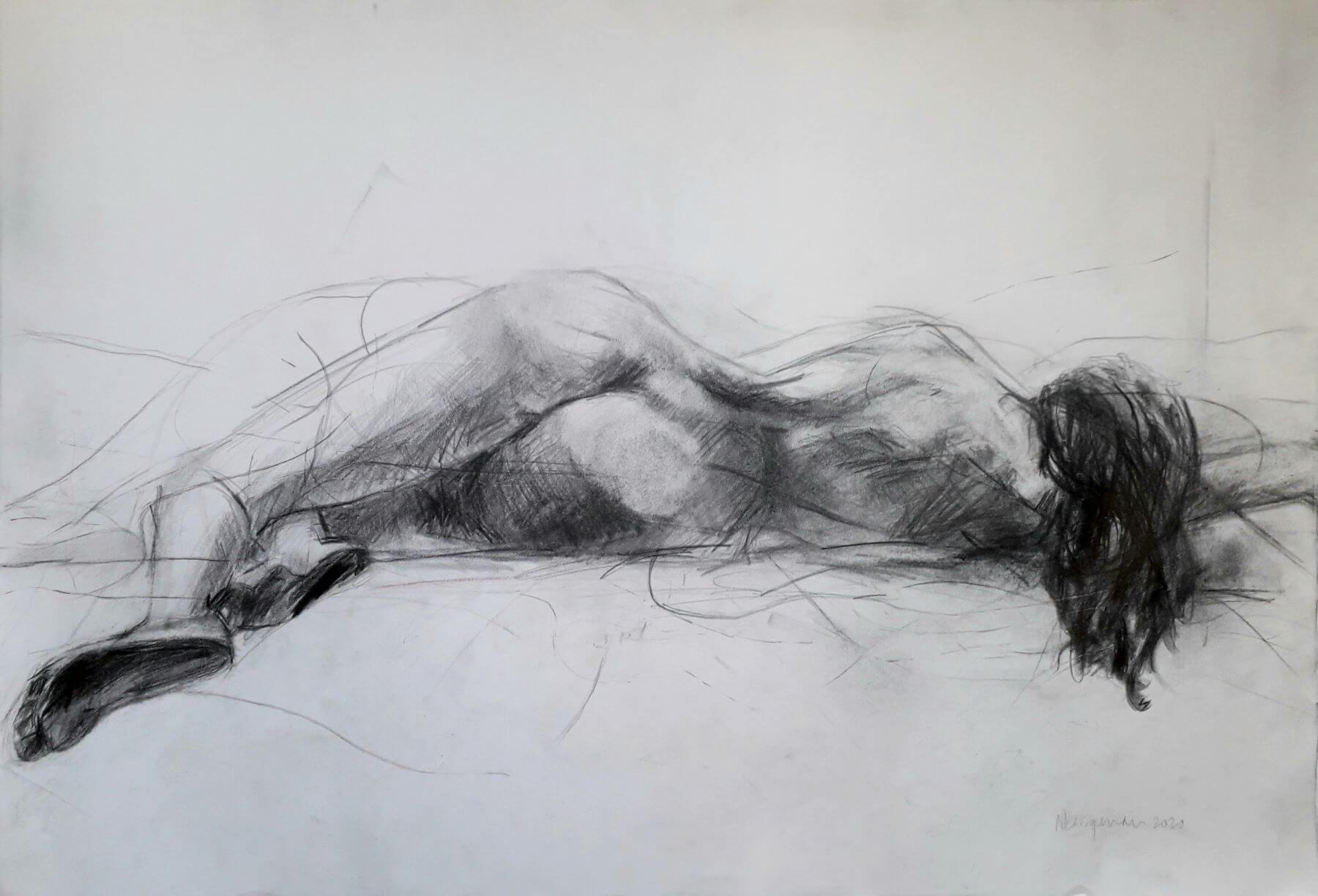 Natural - drawing, graphite on paper, by artist Neva Bergemann
