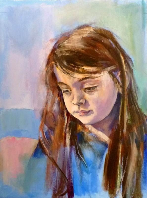 Nefeli, Portrait Painting. Acrylic on Canvas by Neva Bergemann, artist