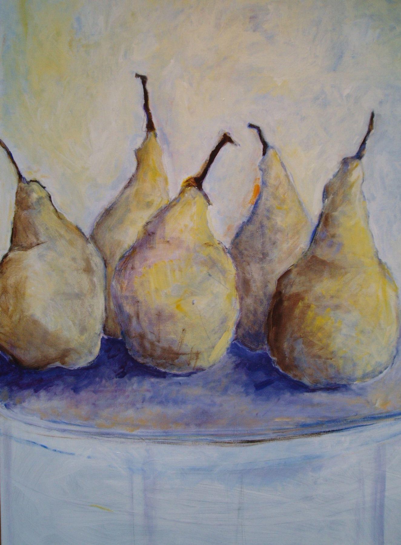 Pears - painting, acrylic on canvas by artist Neva Bergemann
