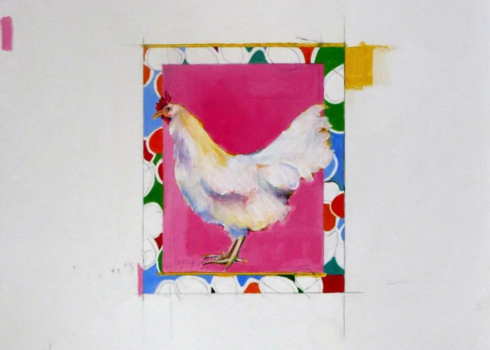 Pink Hen - painting, acrylic on canvas by artist Neva Bergemann
