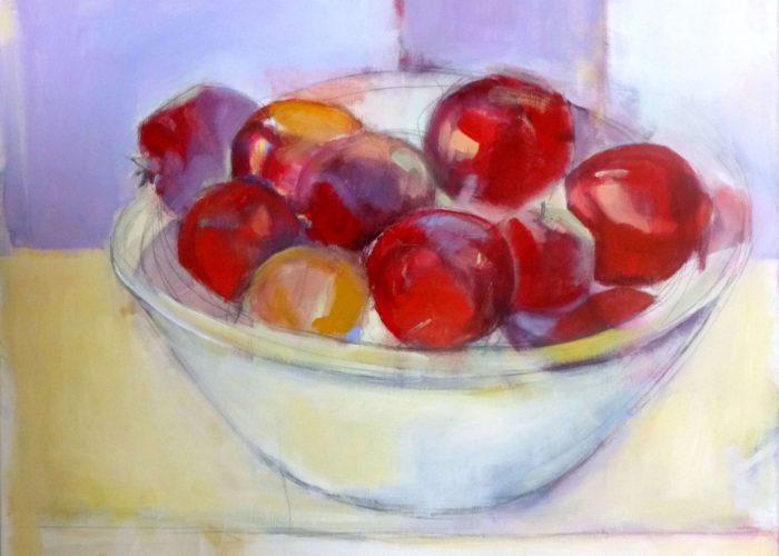 Pomegranates In A Bowl - painting, acrylic on canvas by artist Neva Bergemann