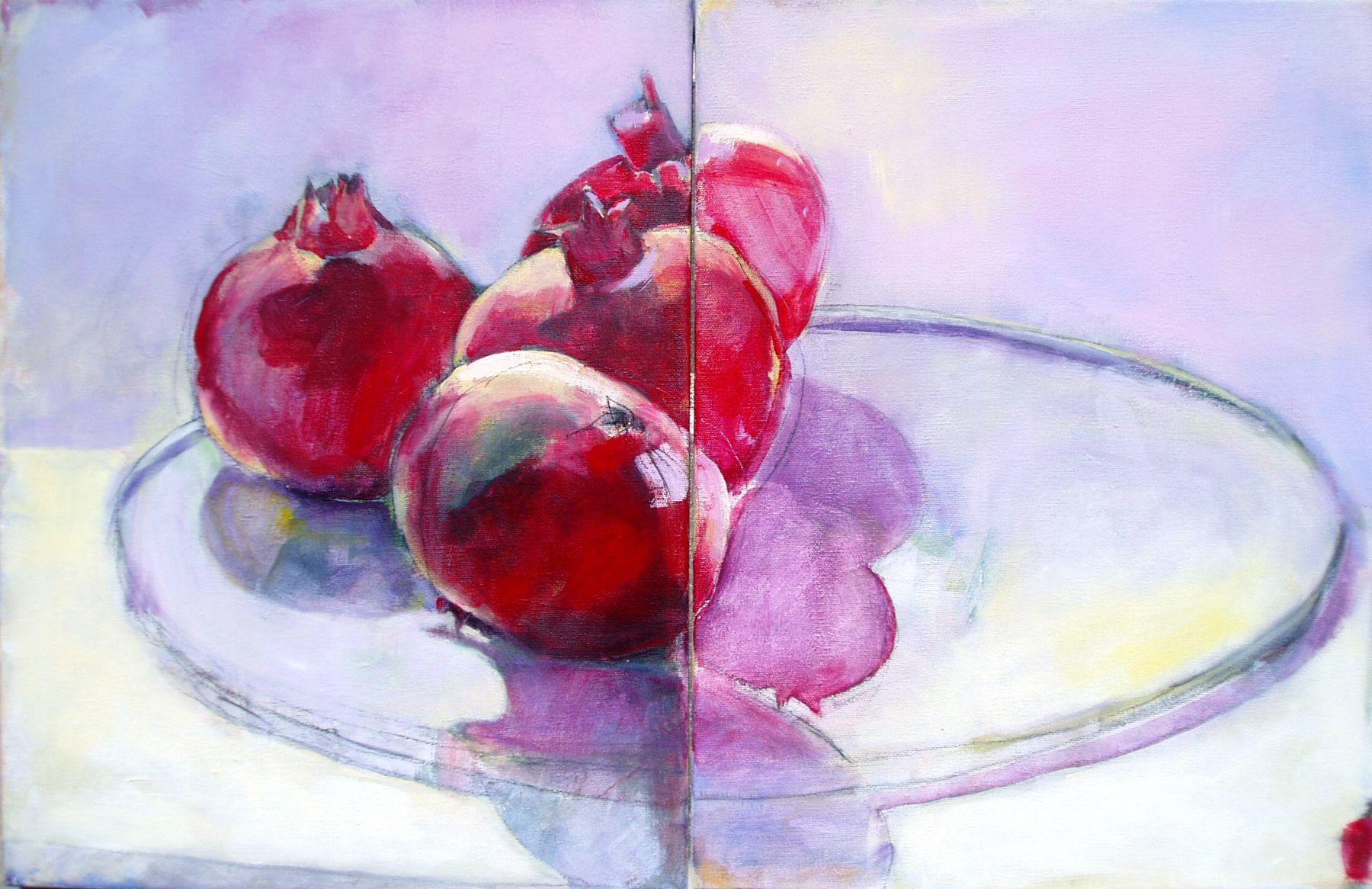 Pomegranates On A Plate - painting, acrylic on canvas by artist Neva Bergemann