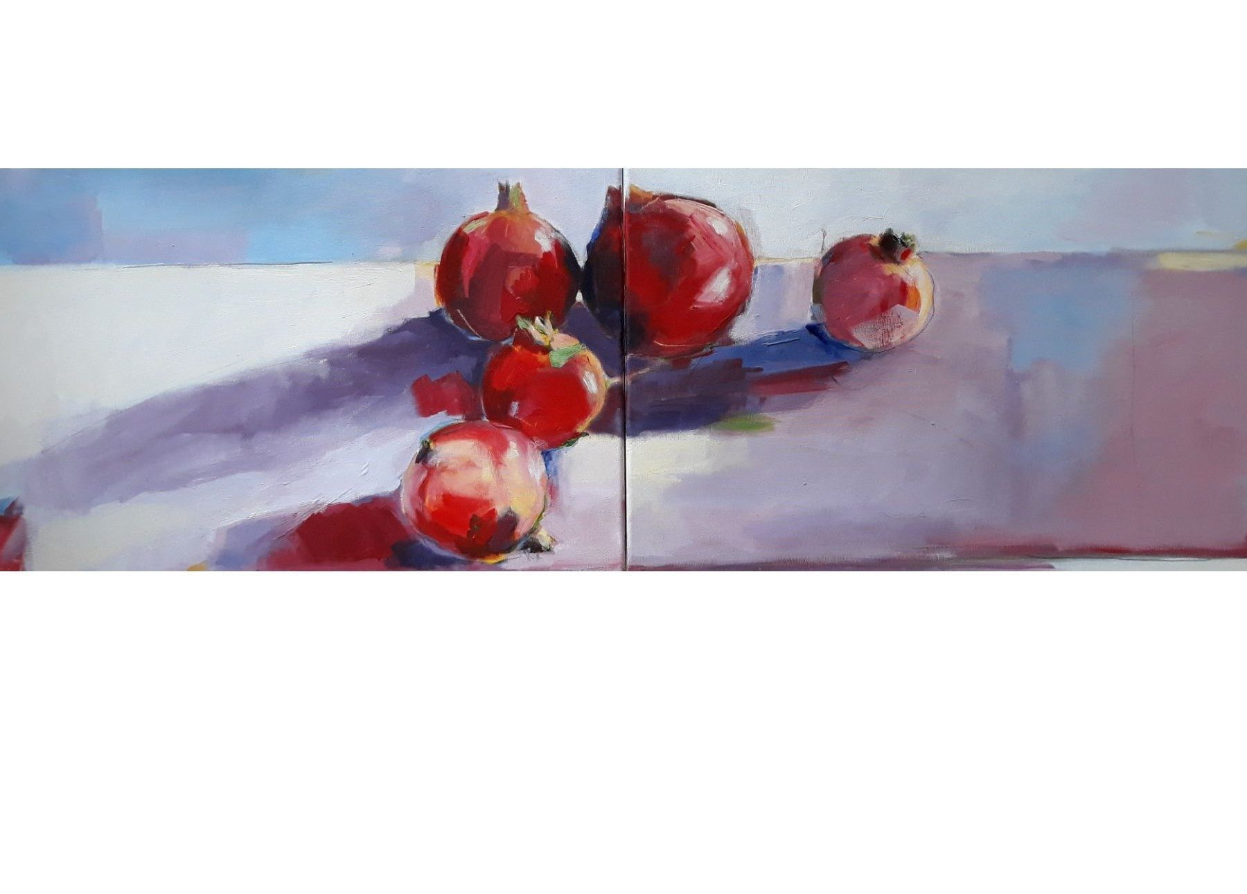 Pomegranates On A Table, - painting, acrylic on canvas by artist Neva Bergemann