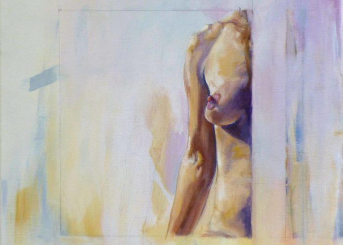 Replica - kid portrait painting, acrylic on canvas by artist Neva Bergemann