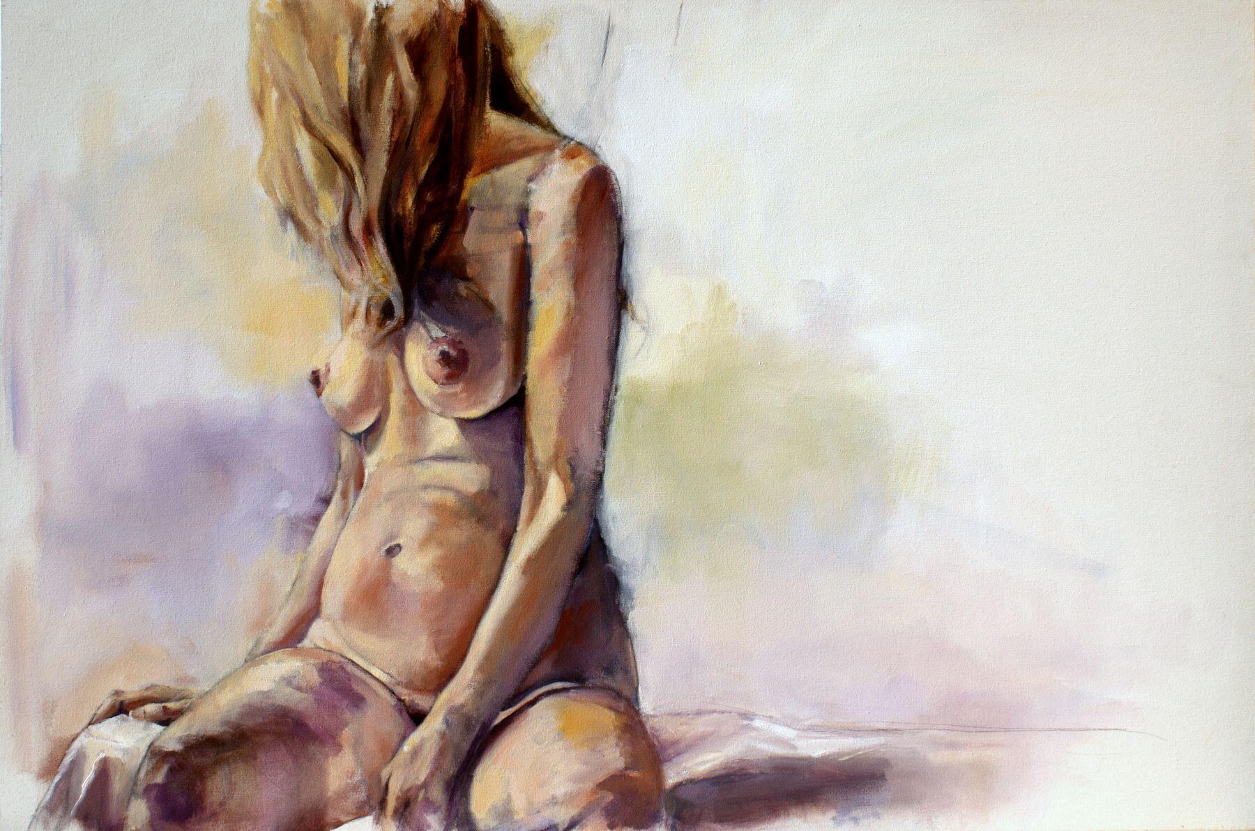 Self portrait - painting, acrylic on canvas by artist Neva Bergemann