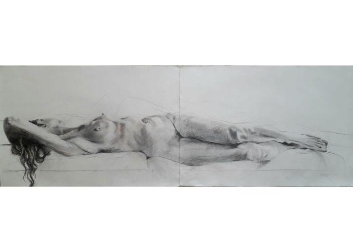 Two - drawing graphite on paper by artist Neva Bergemann