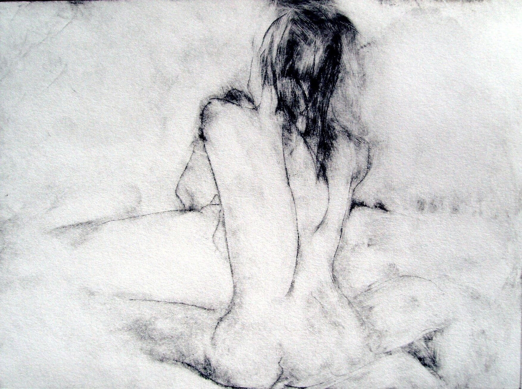 Untitled - drawing, drypoint etching on paper by artist Neva Bergemann