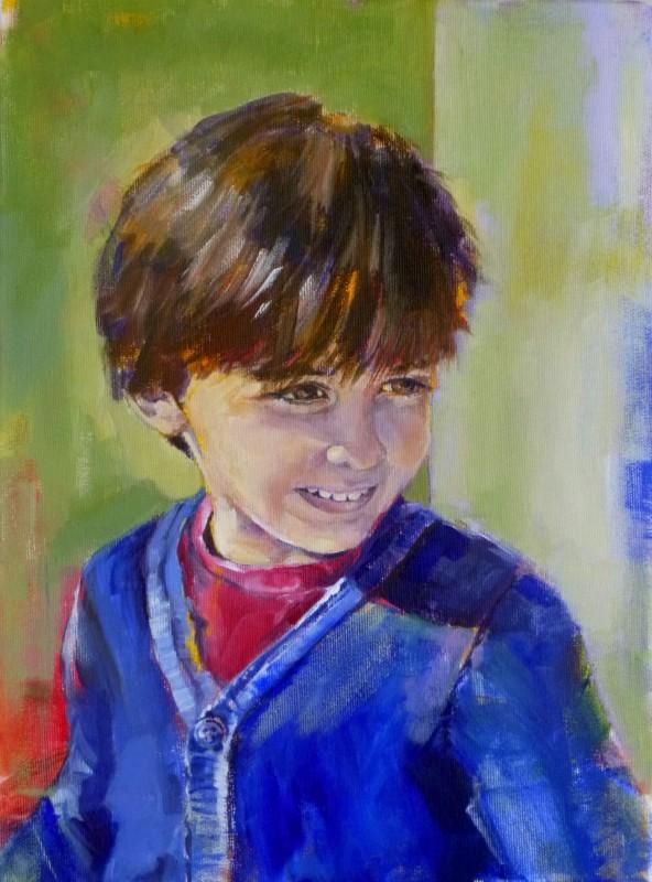 Viktor - kid portrait painting, acrylic on canvas by artist Neva Bergemann